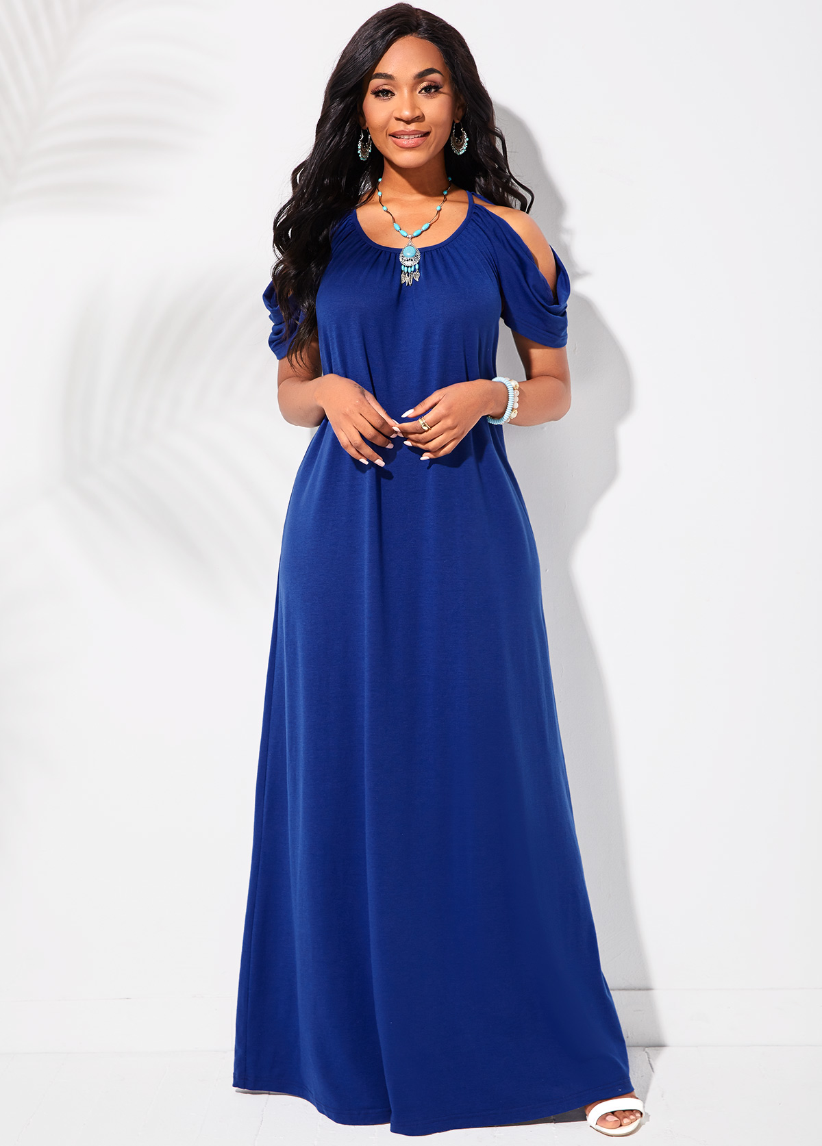 ROTITA Round Neck Cold Shoulder Royal Blue Maxi Dress