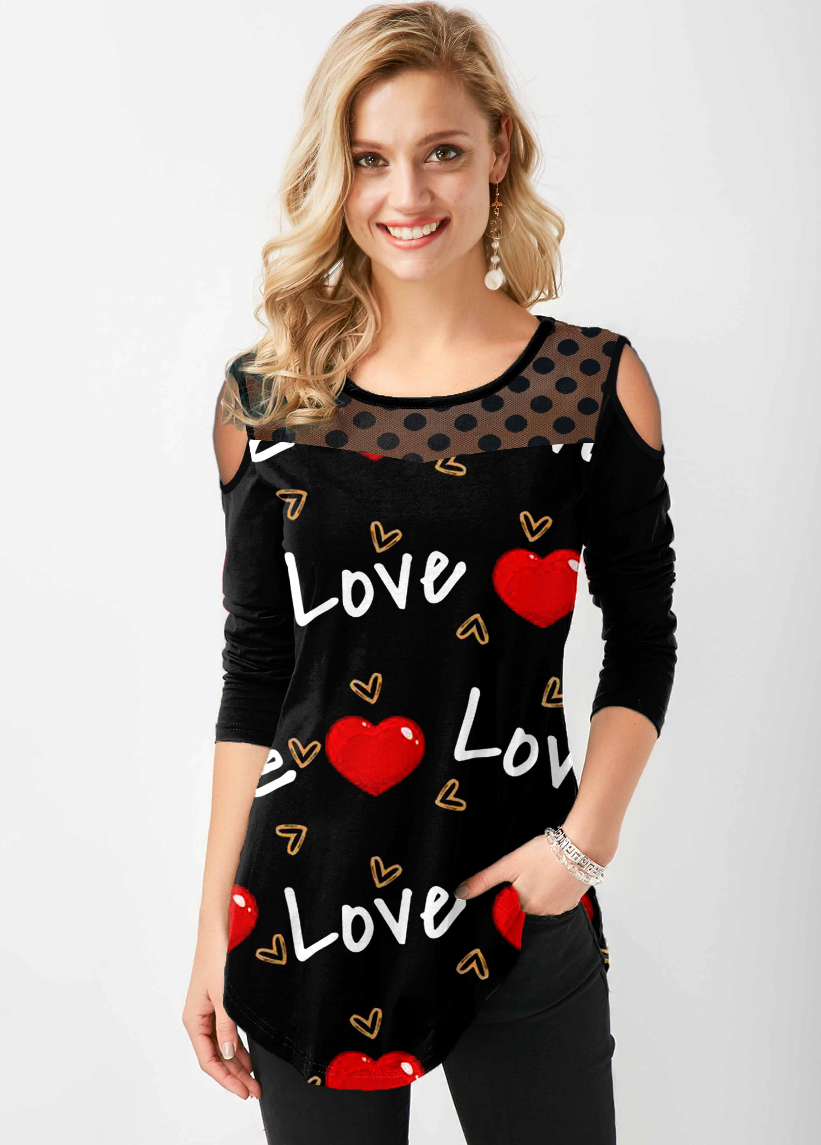 ROTITA Cold Shoulder Polka Dot Letter Heart Print T Shirt