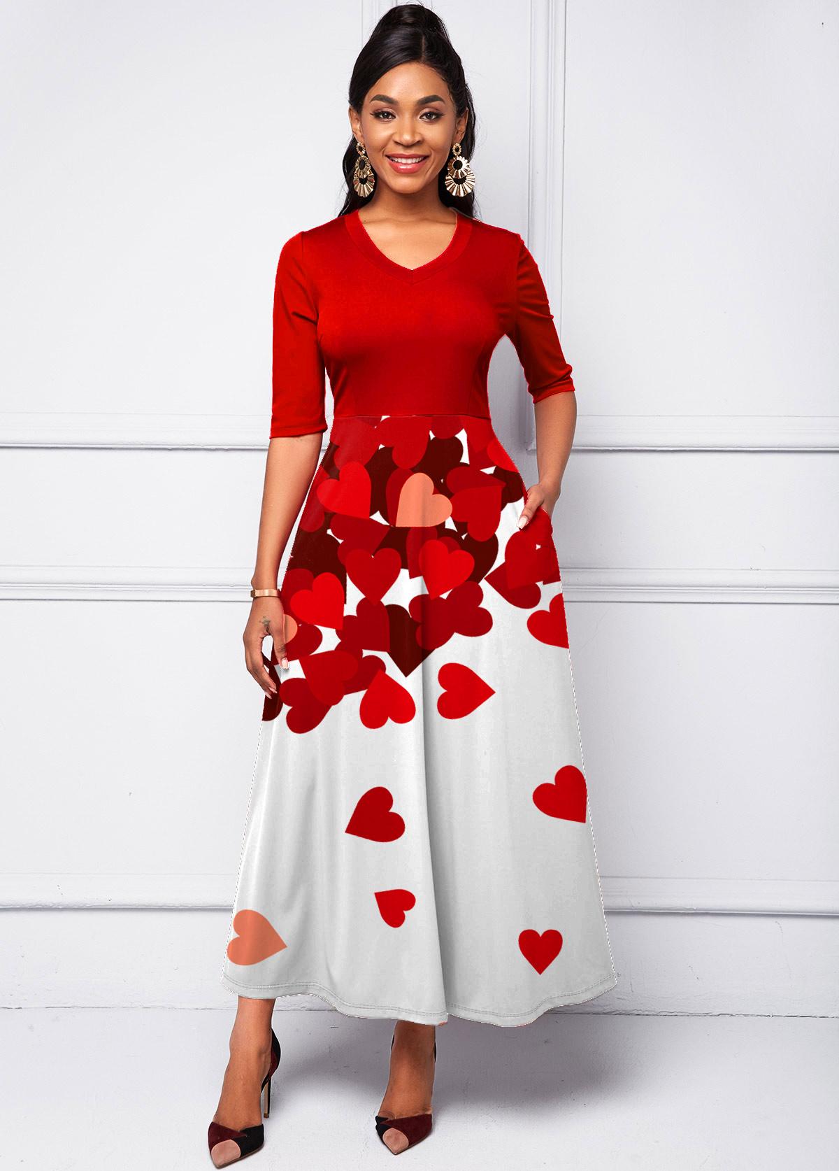 ROTITA Half Sleeve Gradient Heart Print Dress