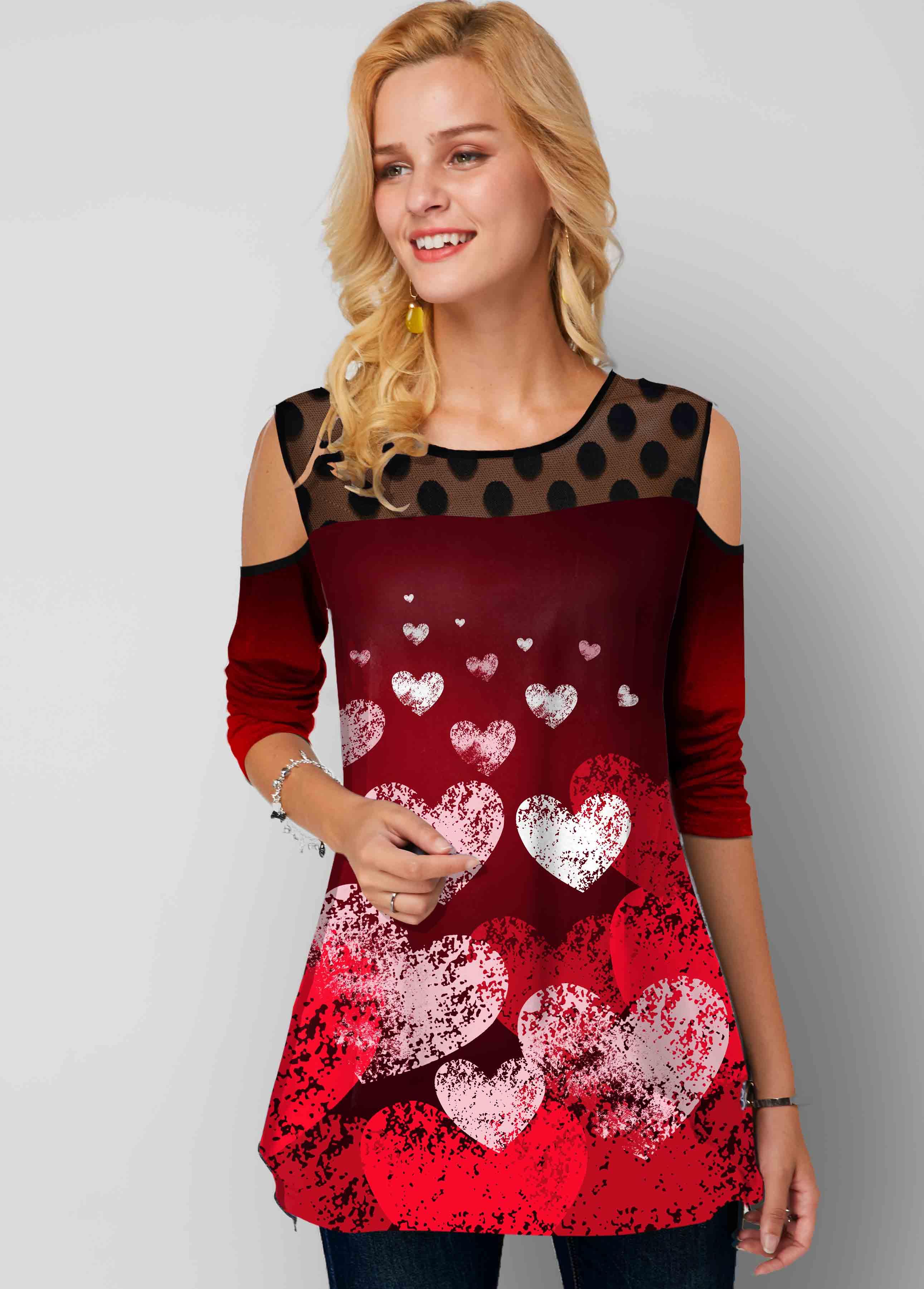 ROTITA Mesh Stitching Heart Print Polka Dot Cold Shoulder Tunic Top