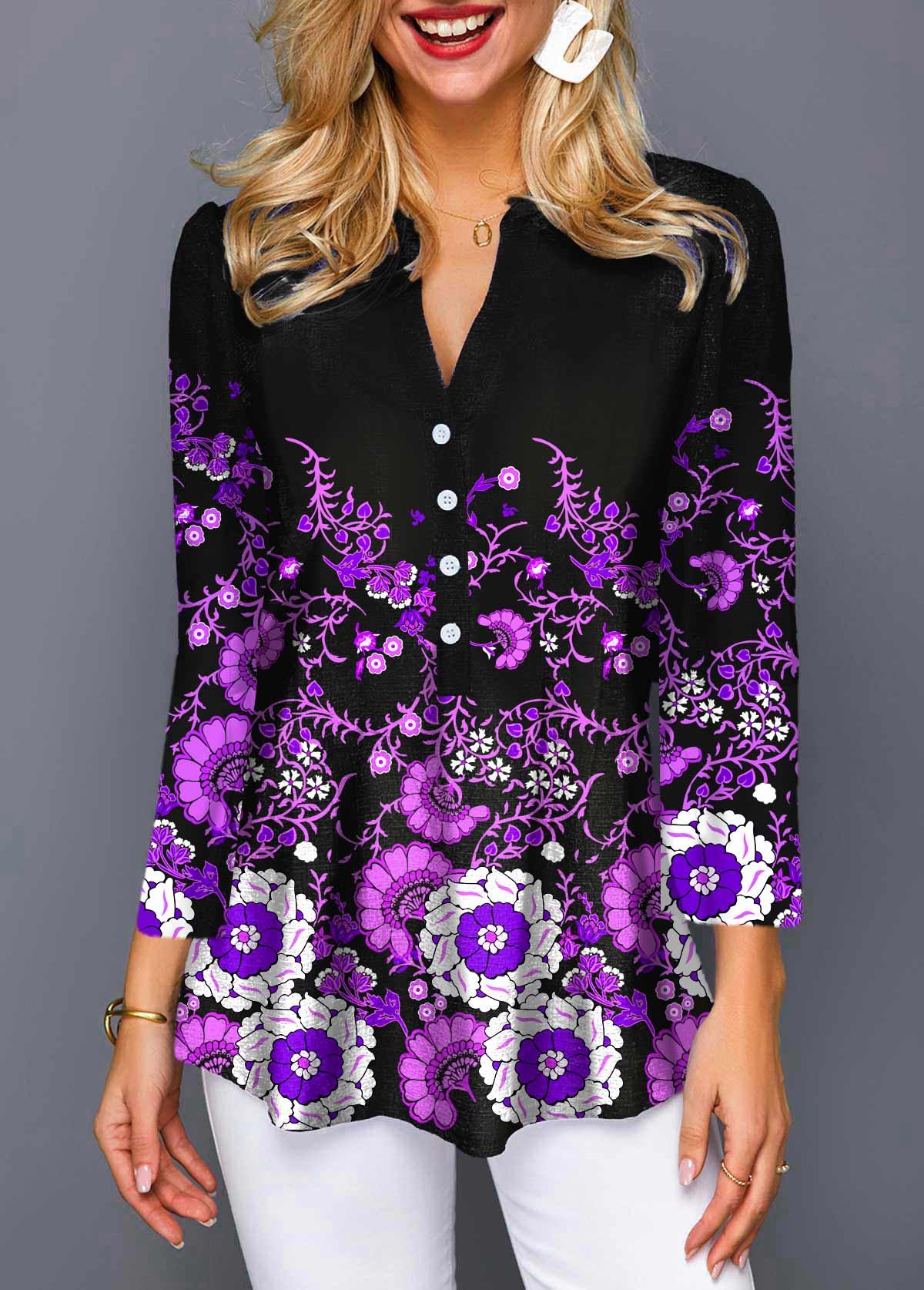 ROTITA Split Neck 3/4 Sleeve Floral Print Blouse