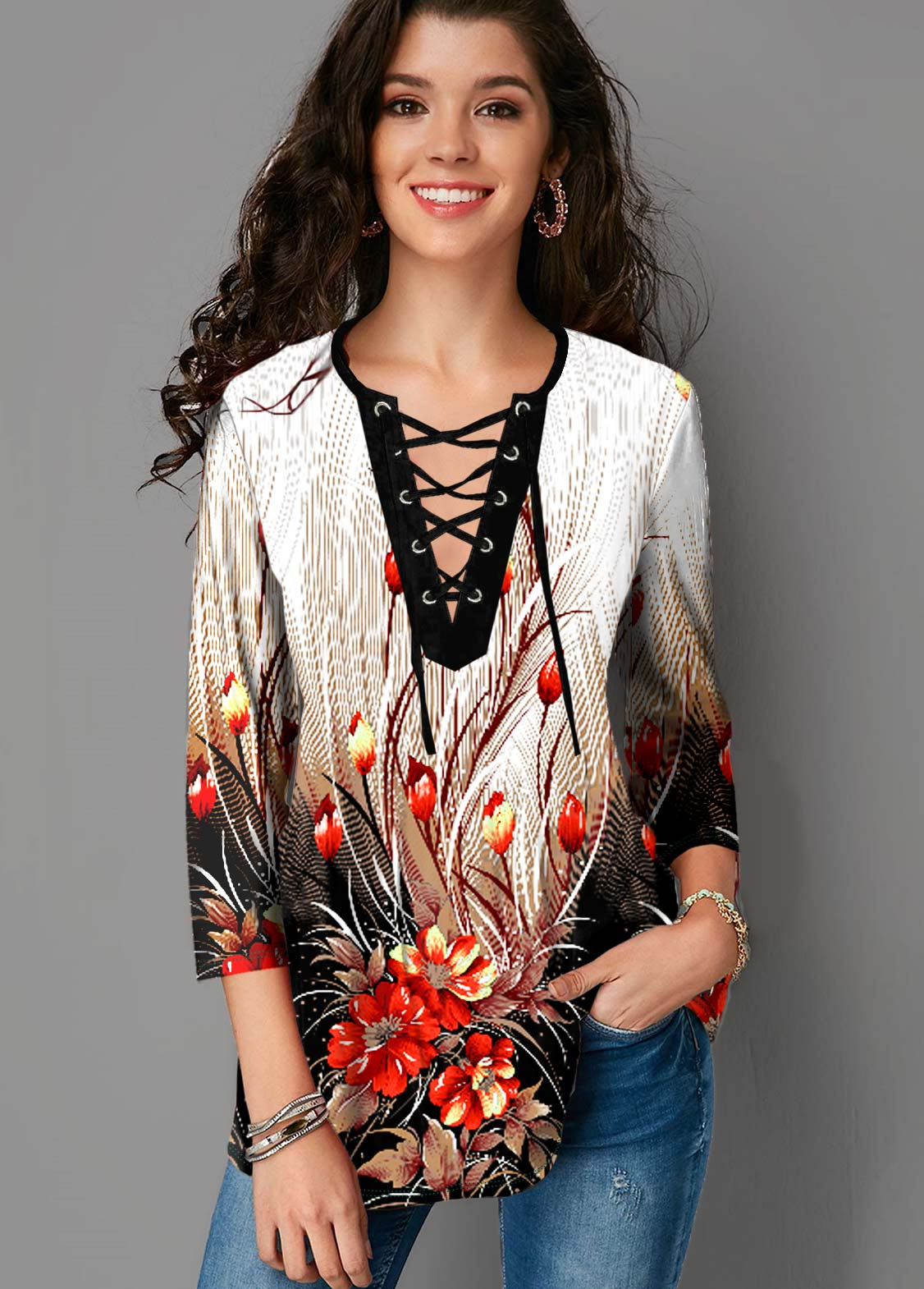 ROTITA Lace Up 3/4 Sleeve Floral Print Blouse