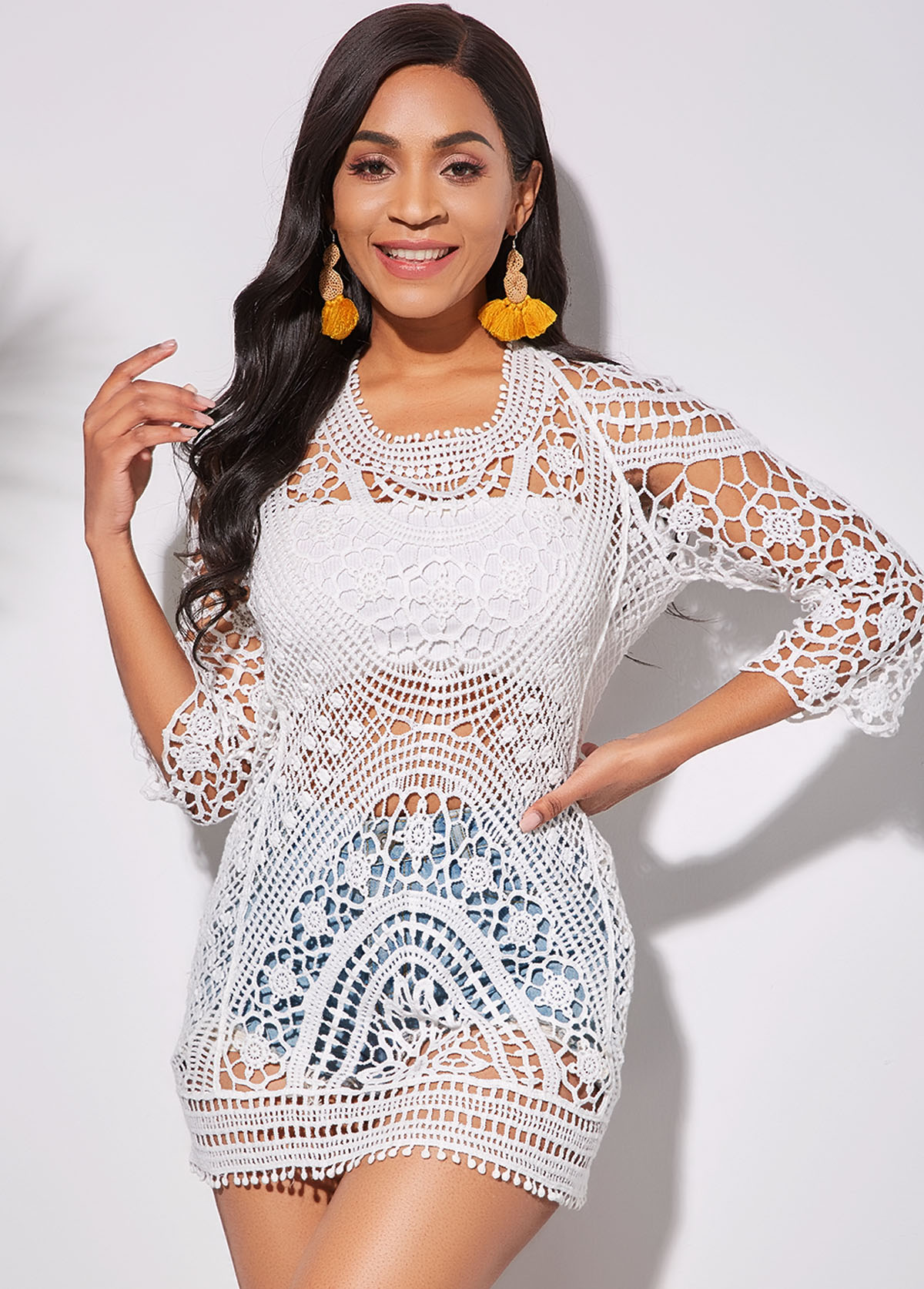 Tassel Tie Cutout Back White Cover Up