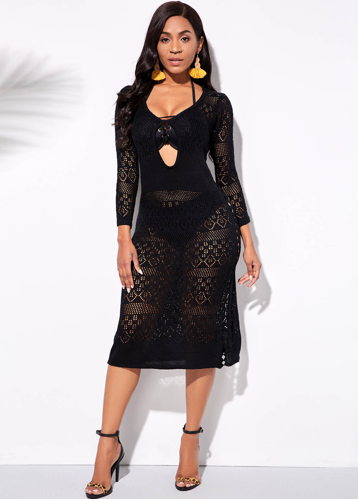 Cutout Front 3/4 Sleeve Black Cover Up