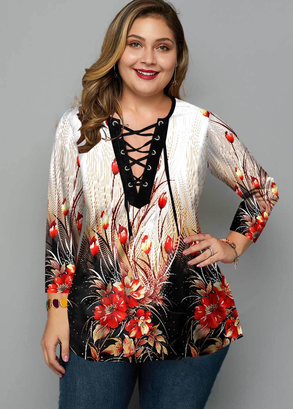 ROTITA Plus Size Floral Print Lace Up Blouse