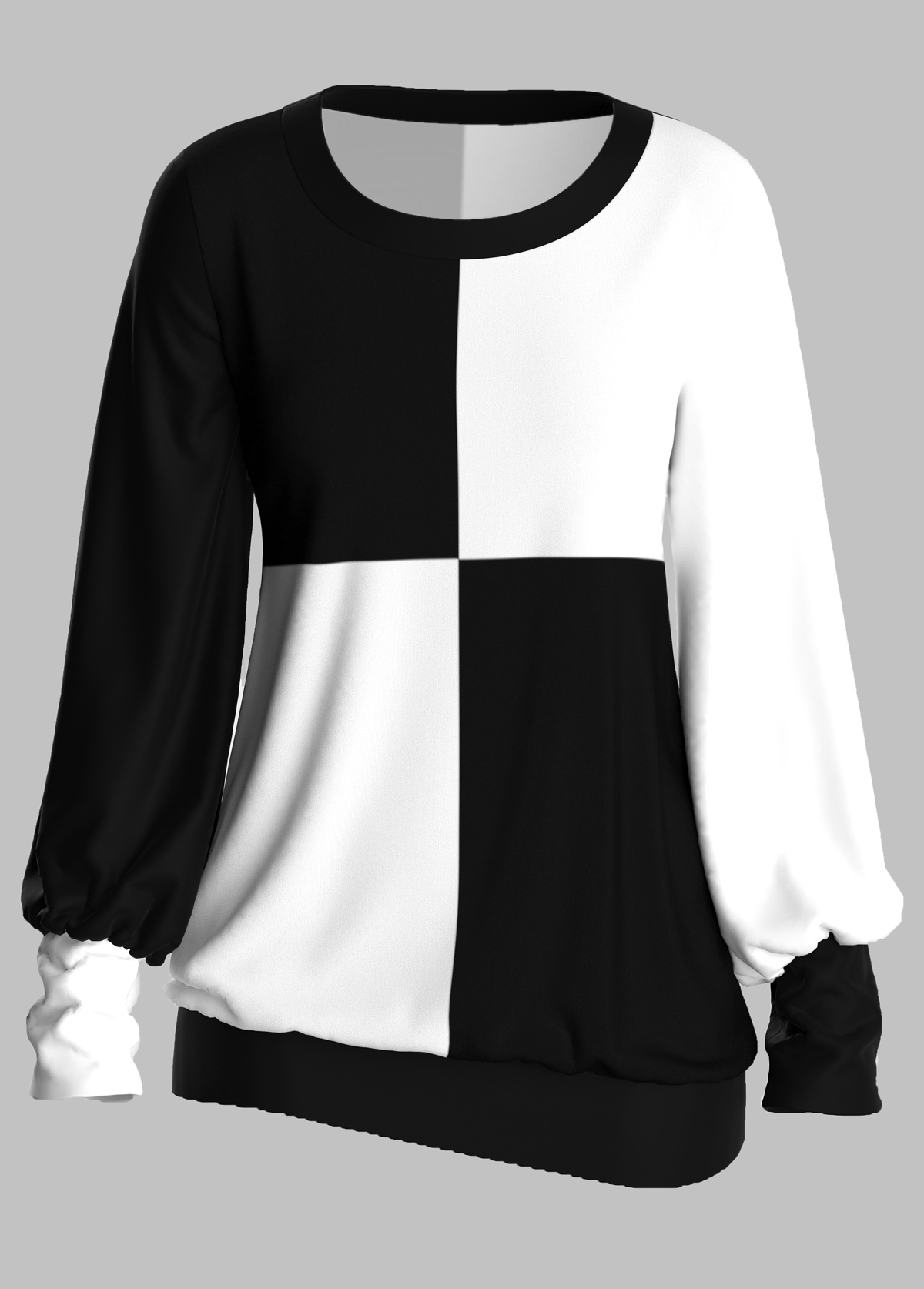 ROTITA Round Neck Long Sleeve Color Block T Shirt