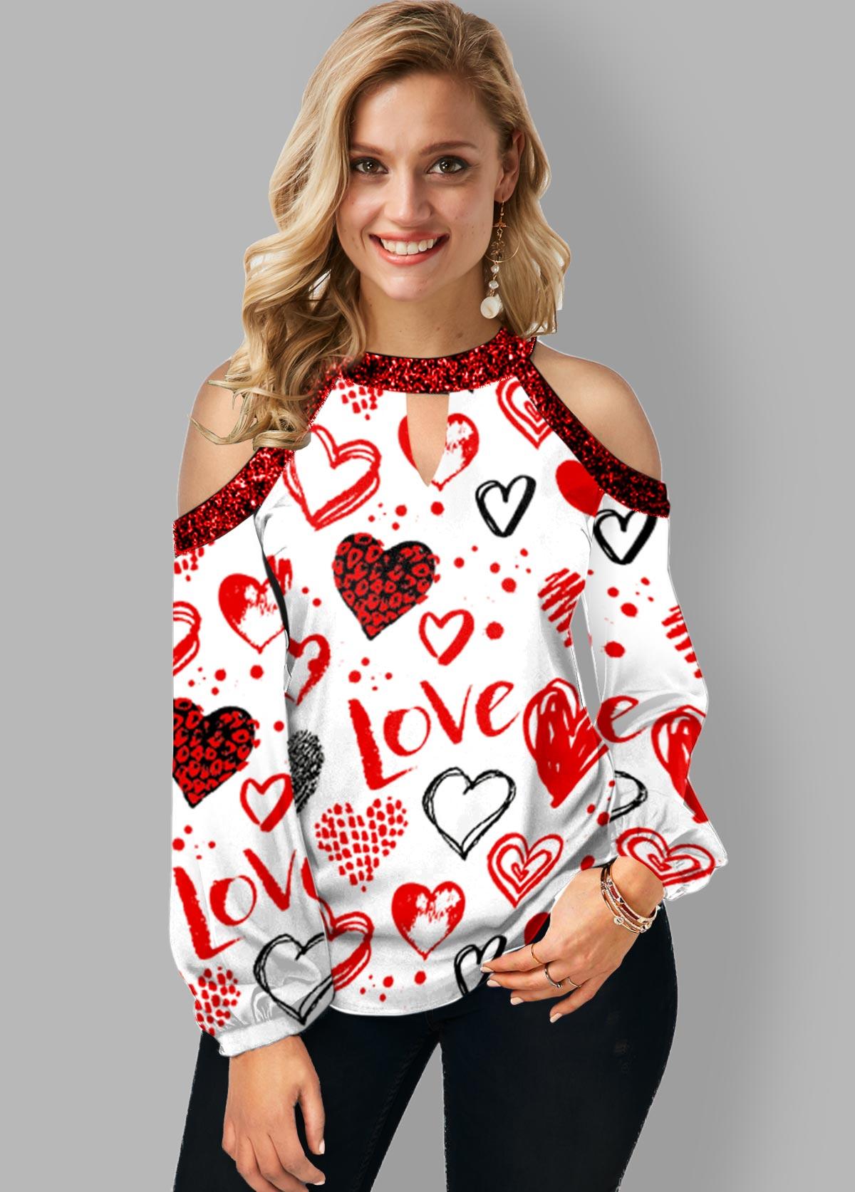 ROTITA Heart Print Cold Shoulder Keyhole Neckline T Shirt