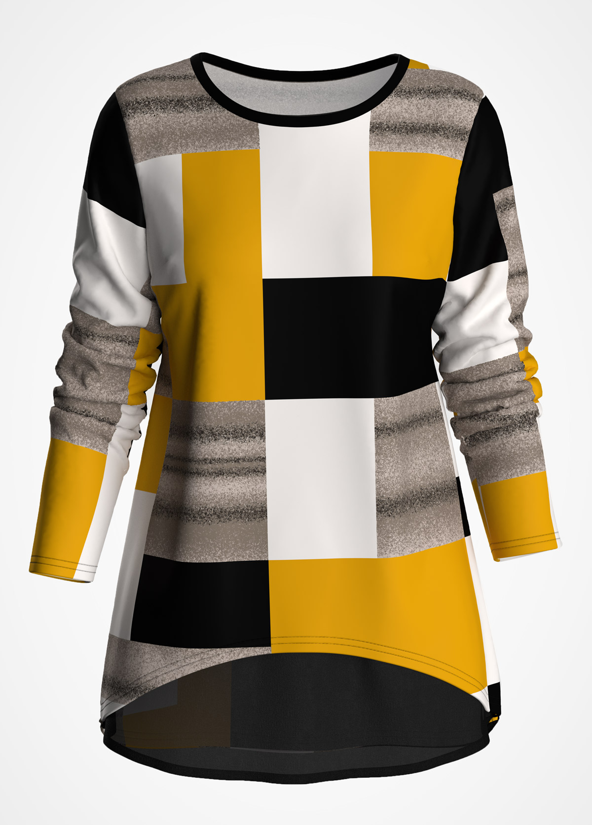 ROTITA Chiffon Panel Long Sleeve Geometric Print T Shirt