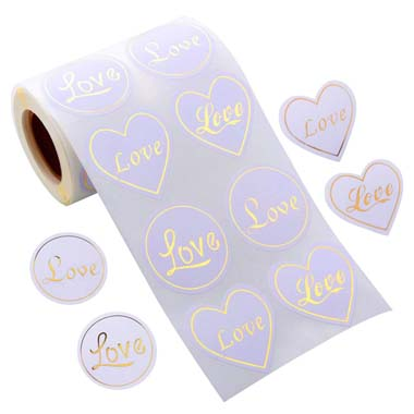 1.0 Inch Hot Stamping Love Gold Stickers