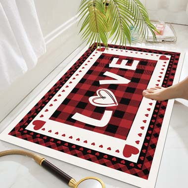 17.7 X 29.5 Inch Letter and Plaid Bathroom Foot Mat