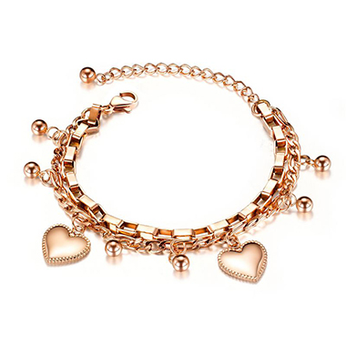 Gold Metal Heart Design Layered Bracelet
