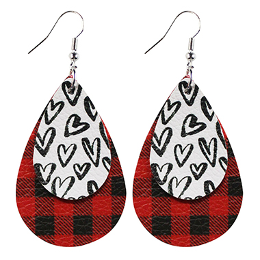 Leopard and Plaid Faux Leather Layered Earring Set
