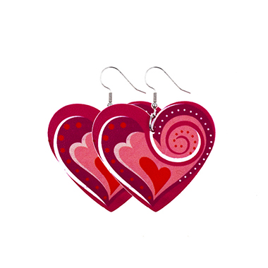 Red Faux Leather Heart Shape Earring Set