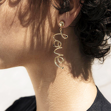 Gold Metal Letter Design Earring Set