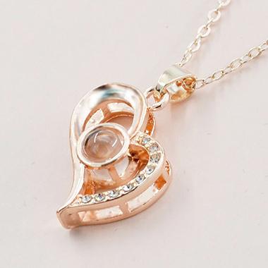 Heart Pendant Gold Metal Letter Necklace