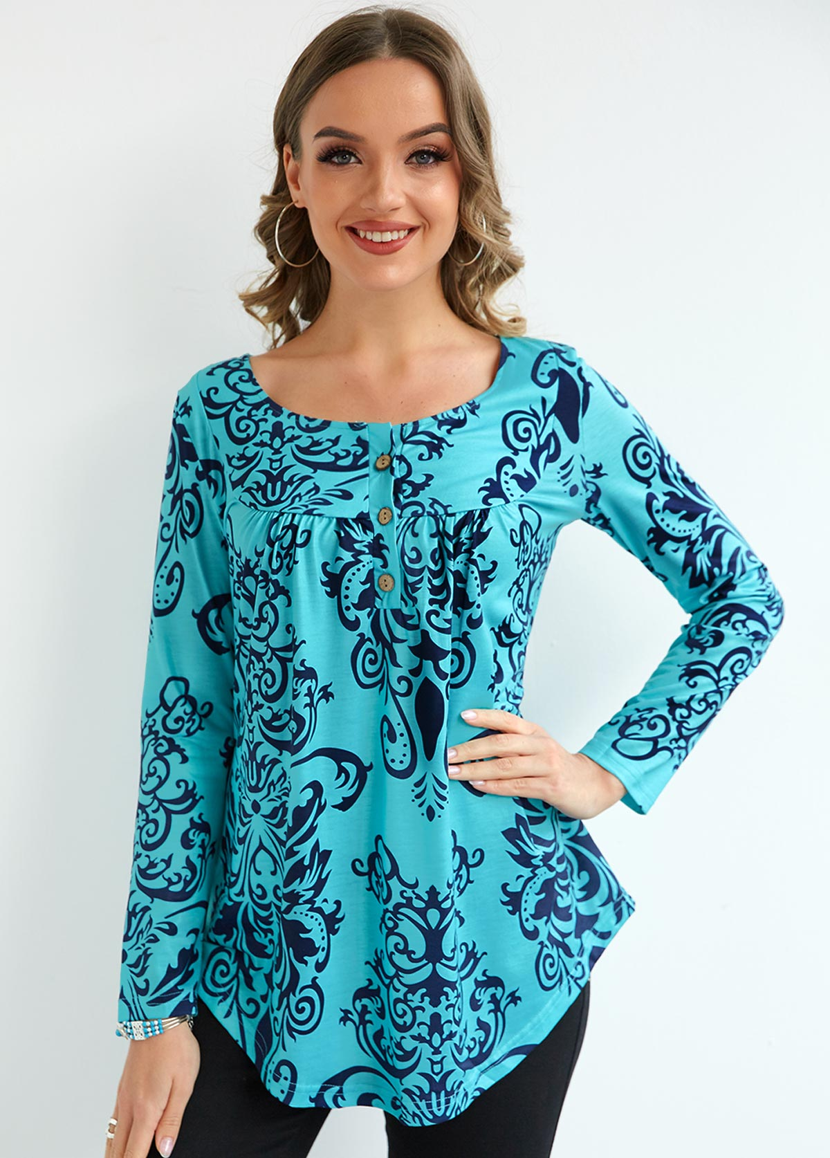 Long Sleeve Button Pleated Printed Blouse
