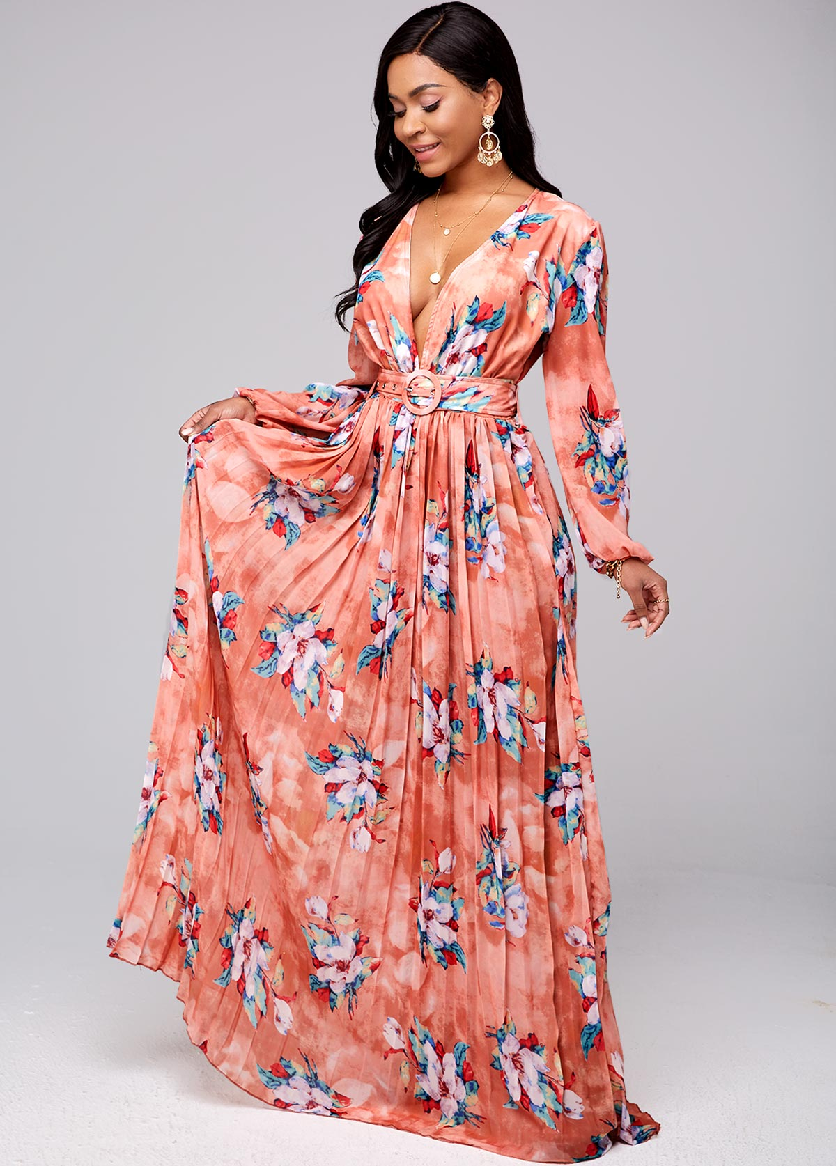Floral Print Pleated Hem Buckle Belted Dress