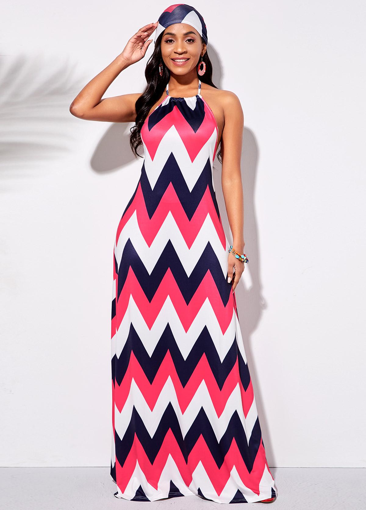 Halter Geometric Print Contrast Maxi Dress