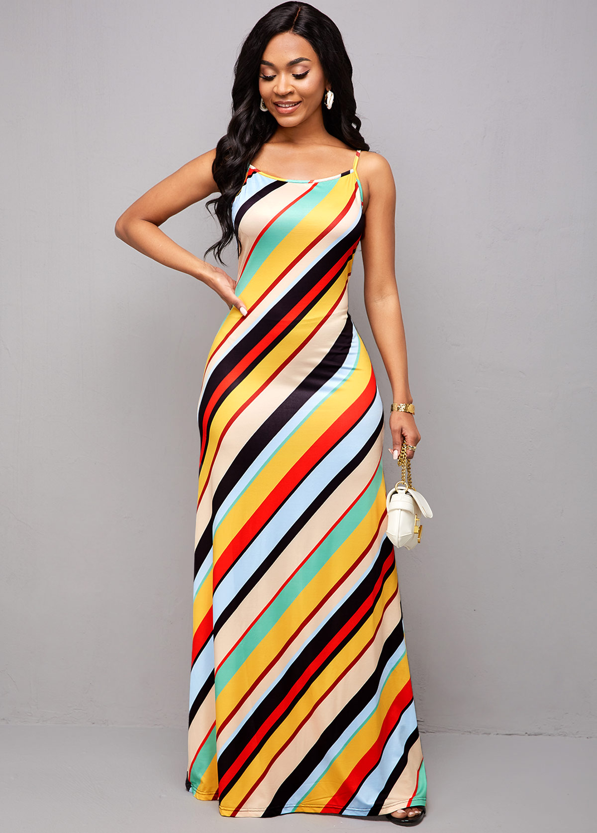 Spaghetti Strap Rainbow Stripe Maxi Dress
