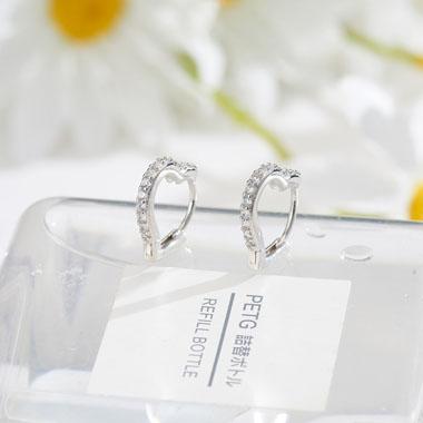 0.6 X 0.6 Inch Rhinestone Detail Silver Heart Earring Set