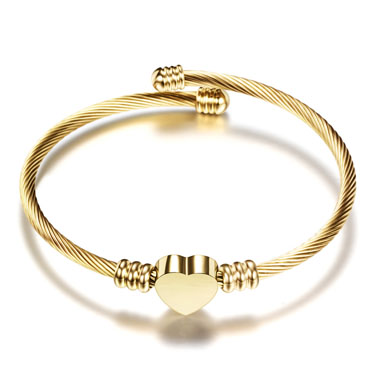 Gold Steel Wire Braided Heart Shape Bangle