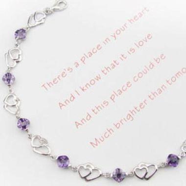 8.3 Inch Amethyst Heart Design Bracelet
