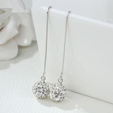 Chain Tassel Shambhala Ball Silver Earring Set