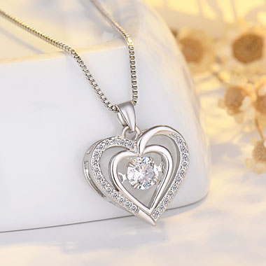 17.7 Inch Heart Pendant Silver Necklace