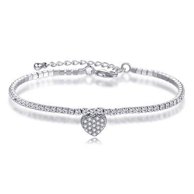 Silver Metal Heart Design Rhinestone Bracelet