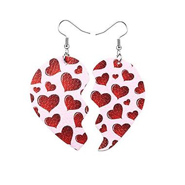 Heart Print Faux Leather Earring Set