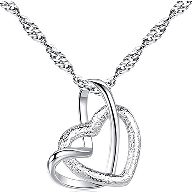 Silver Metal Double Heart Design Necklace