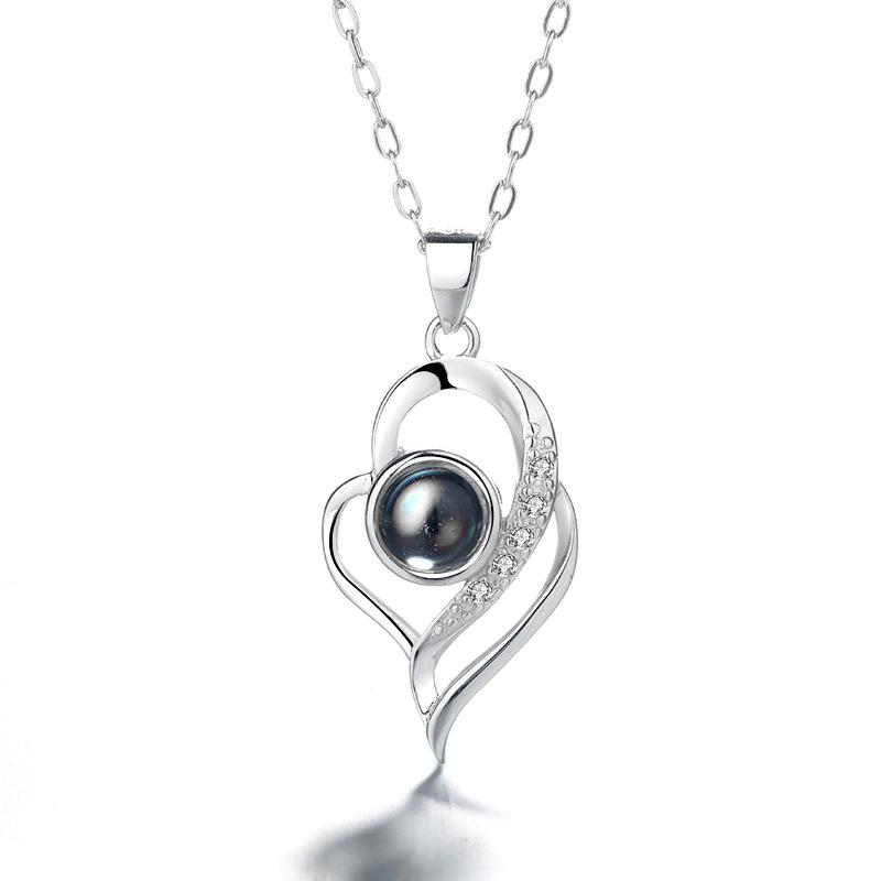 Letter Design Rhinestone Detail Silver Necklace