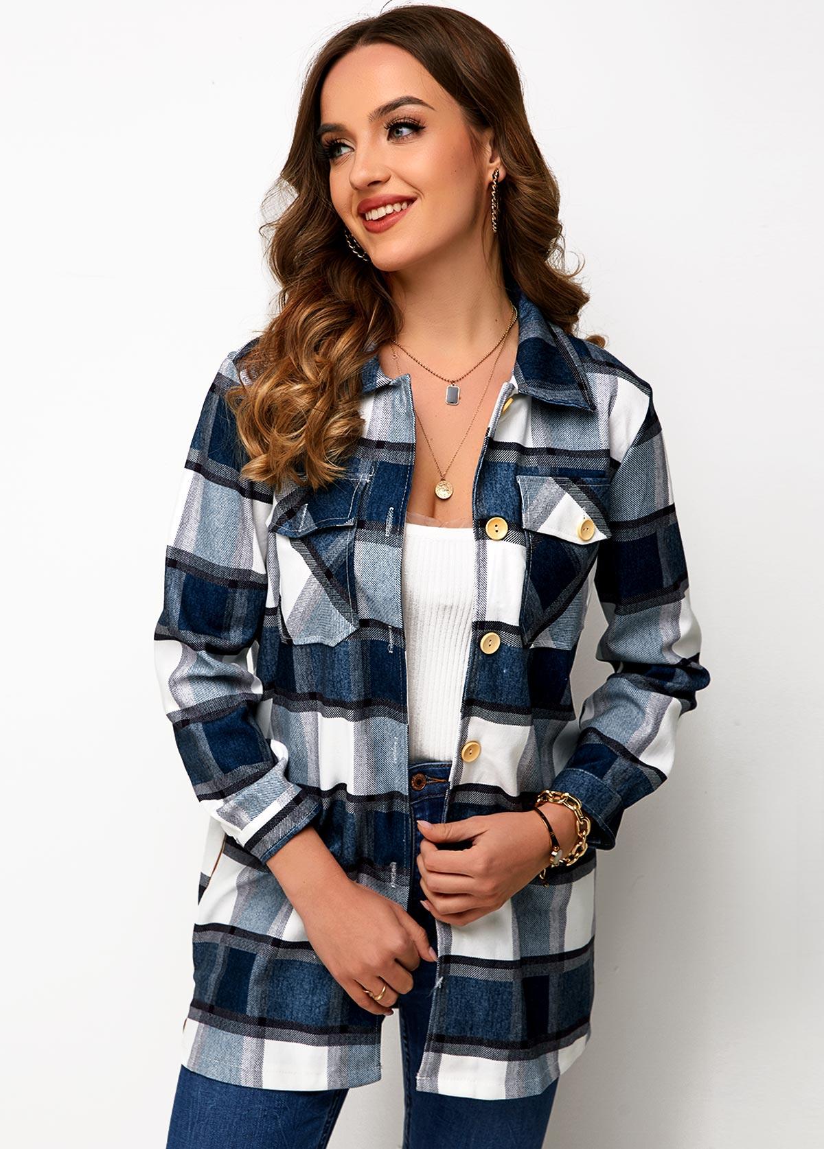 Button Up Chest Pocket Plaid Shirt