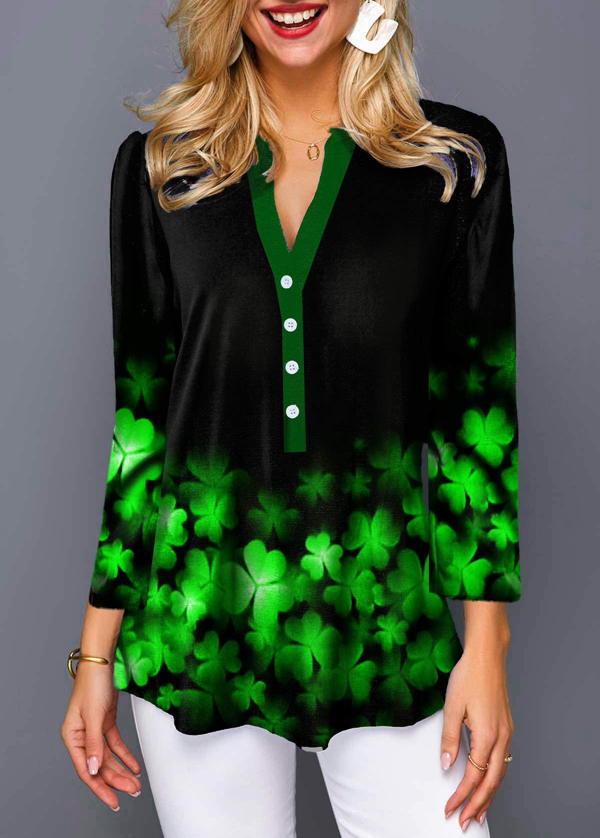 ROTITA Split Neck 3/4 Sleeve Clover Print Blouse
