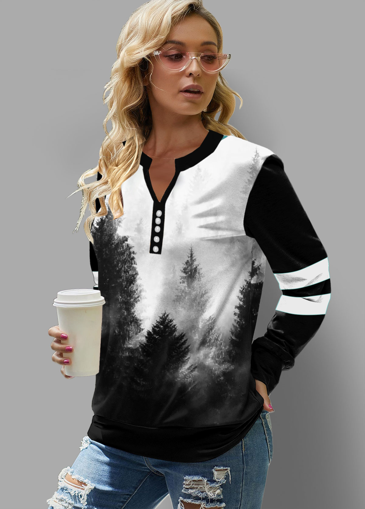 ROTITA Ink Painting Print Long Sleeve Sweatshirt