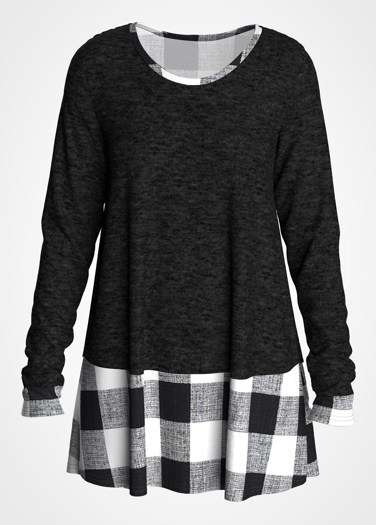 ROTITA Plus Size Long Sleeve Plaid T Shirt
