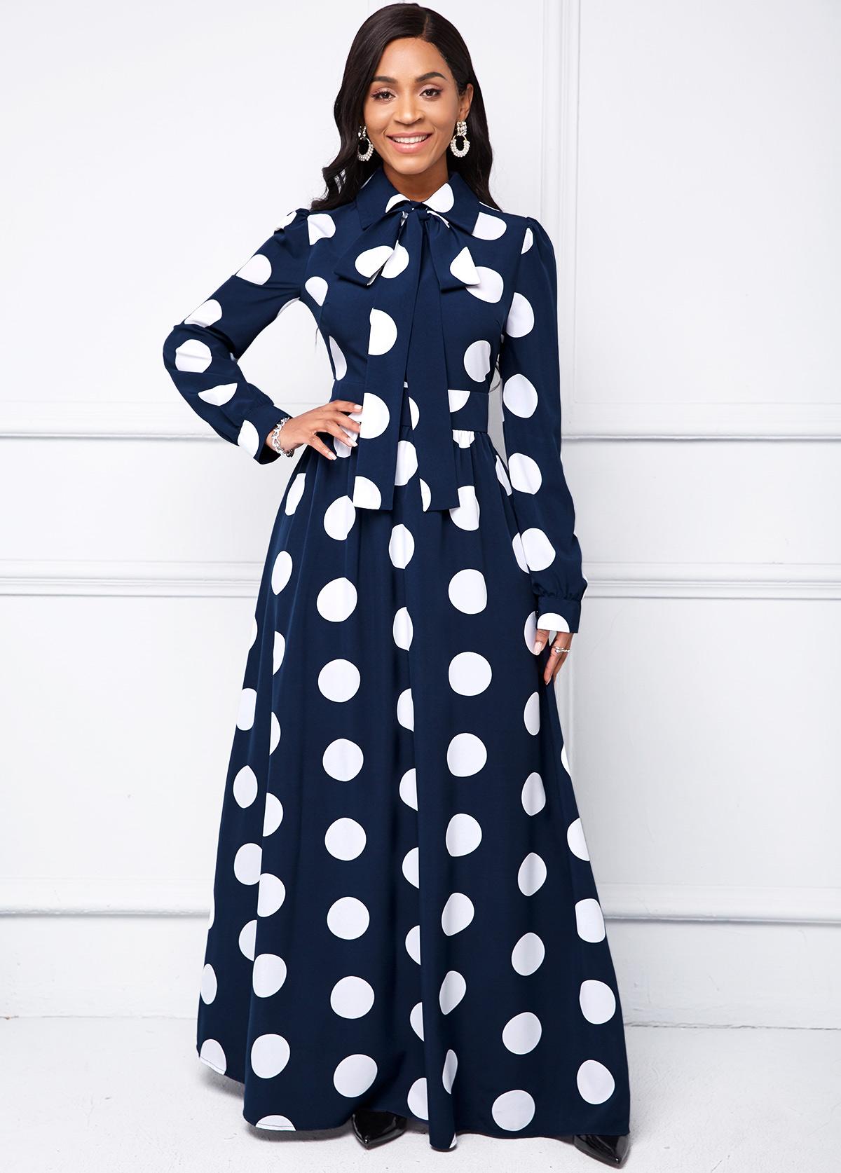 ROTITA Polka Dot Turndown Collar Long Sleeve Dress