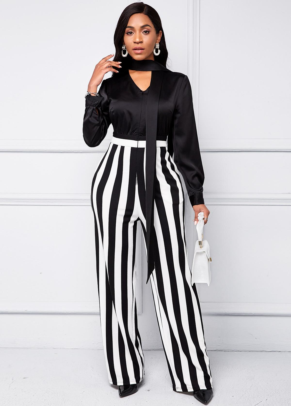ROTITA V Neck Striped Long Sleeve Jumpsuit
