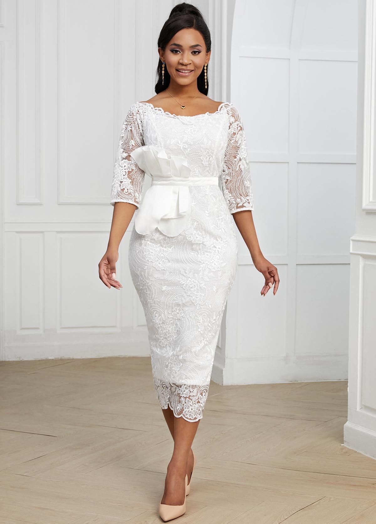 ROTITA Lace 3/4 Sleeve White Bodycon Dress