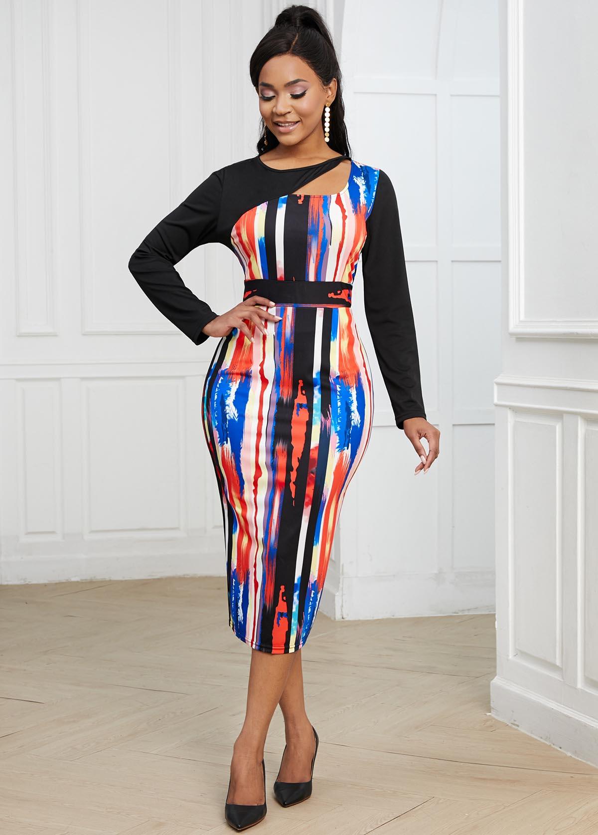 ROTITA Cutout Neck Long Sleeve Striped Bodycon Dress