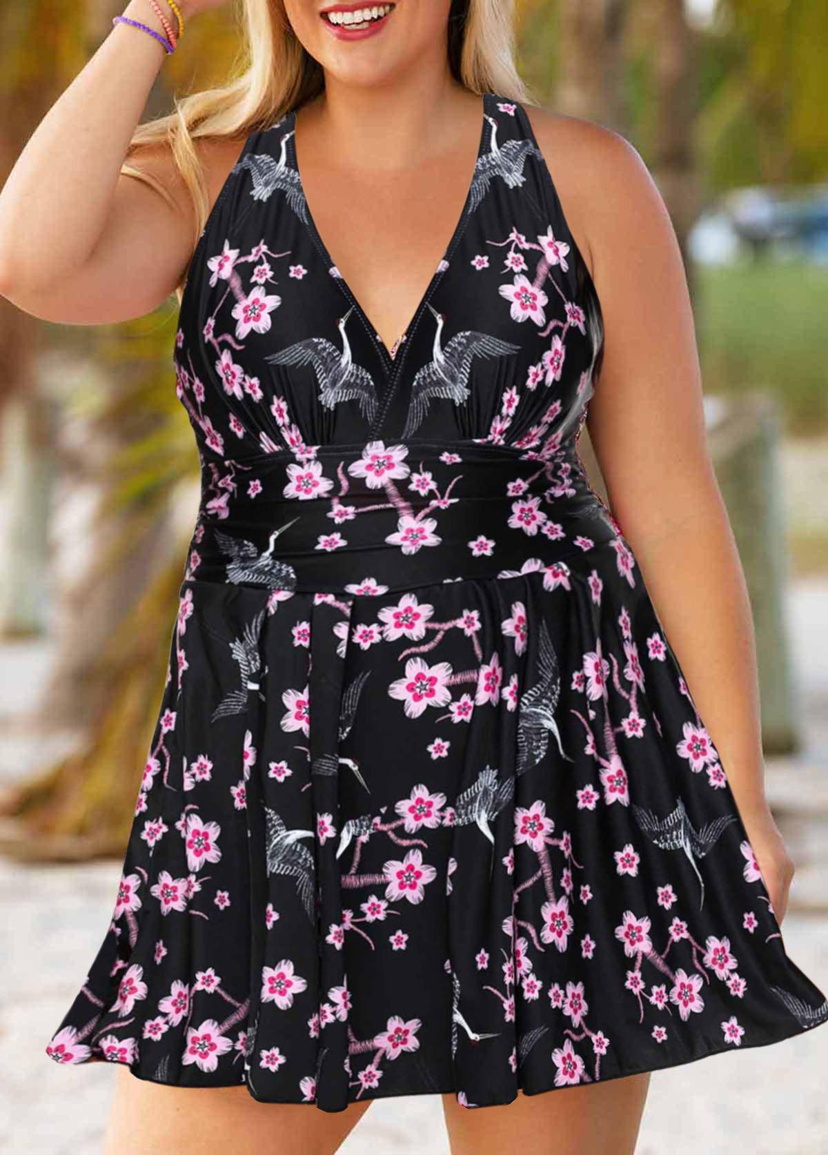 ROTITA Plus Size Cross Strap Floral Print Swimdress and Shorts