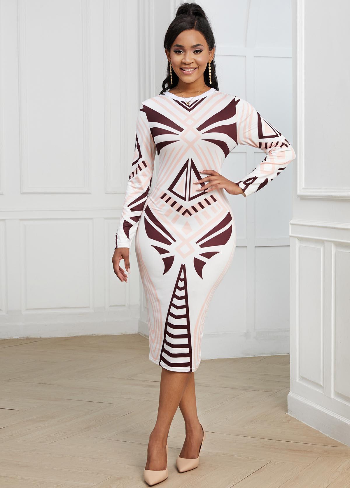 ROTITA Round Neck Geometric Print Long Sleeve Dress