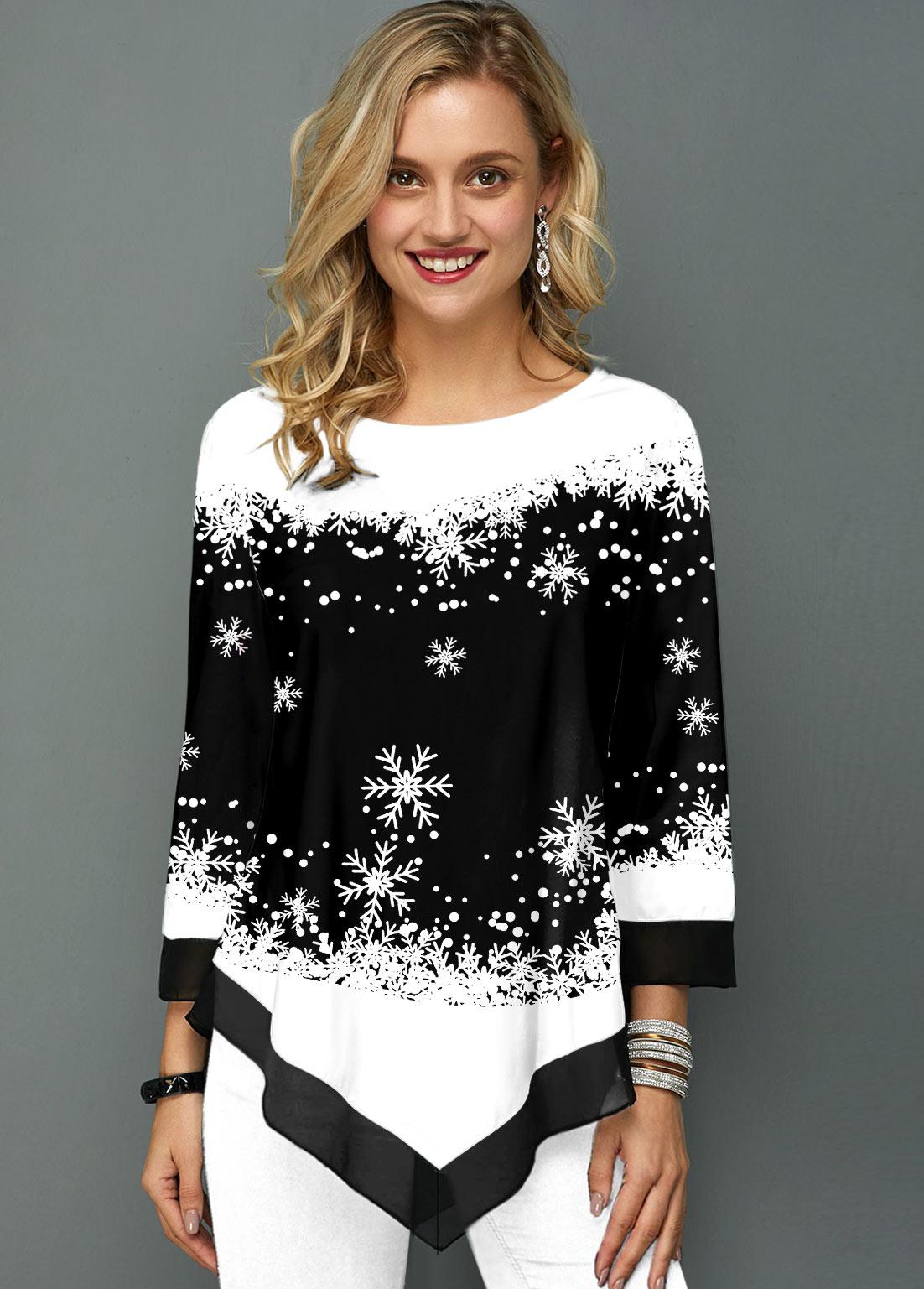 ROTITA Snowflake Print Round Neck Asymmetric Hem T Shirt