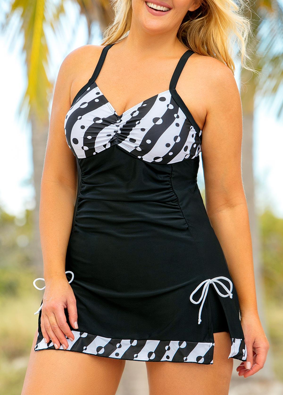 ROTITA Plus Size Bowknot Polka Dot Swimdress and Shorts