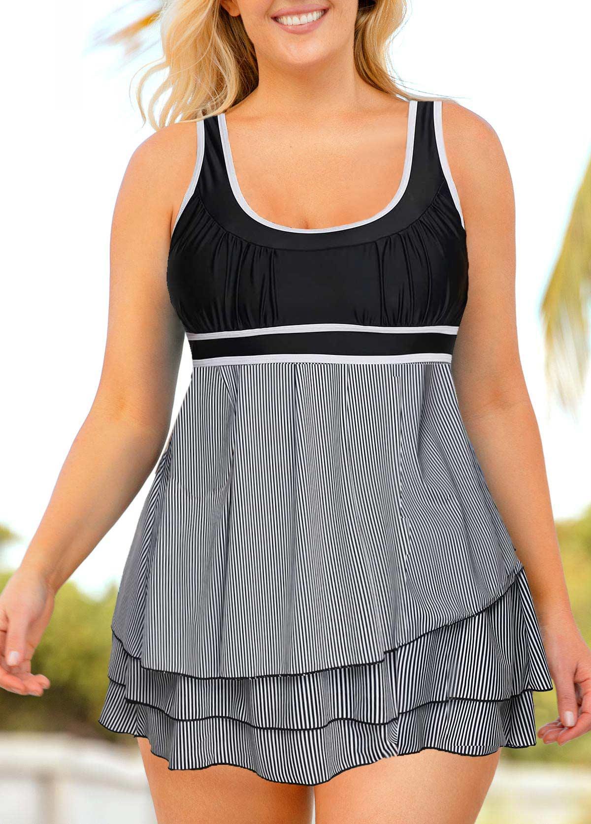 ROTITA Plus Size Striped Layered Hem Swimdress and Shorts
