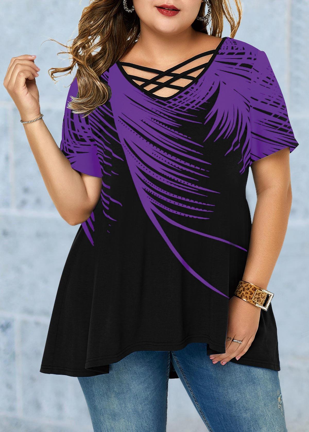 ROTITA Plus Size Cross Strap Feather Print T Shirt