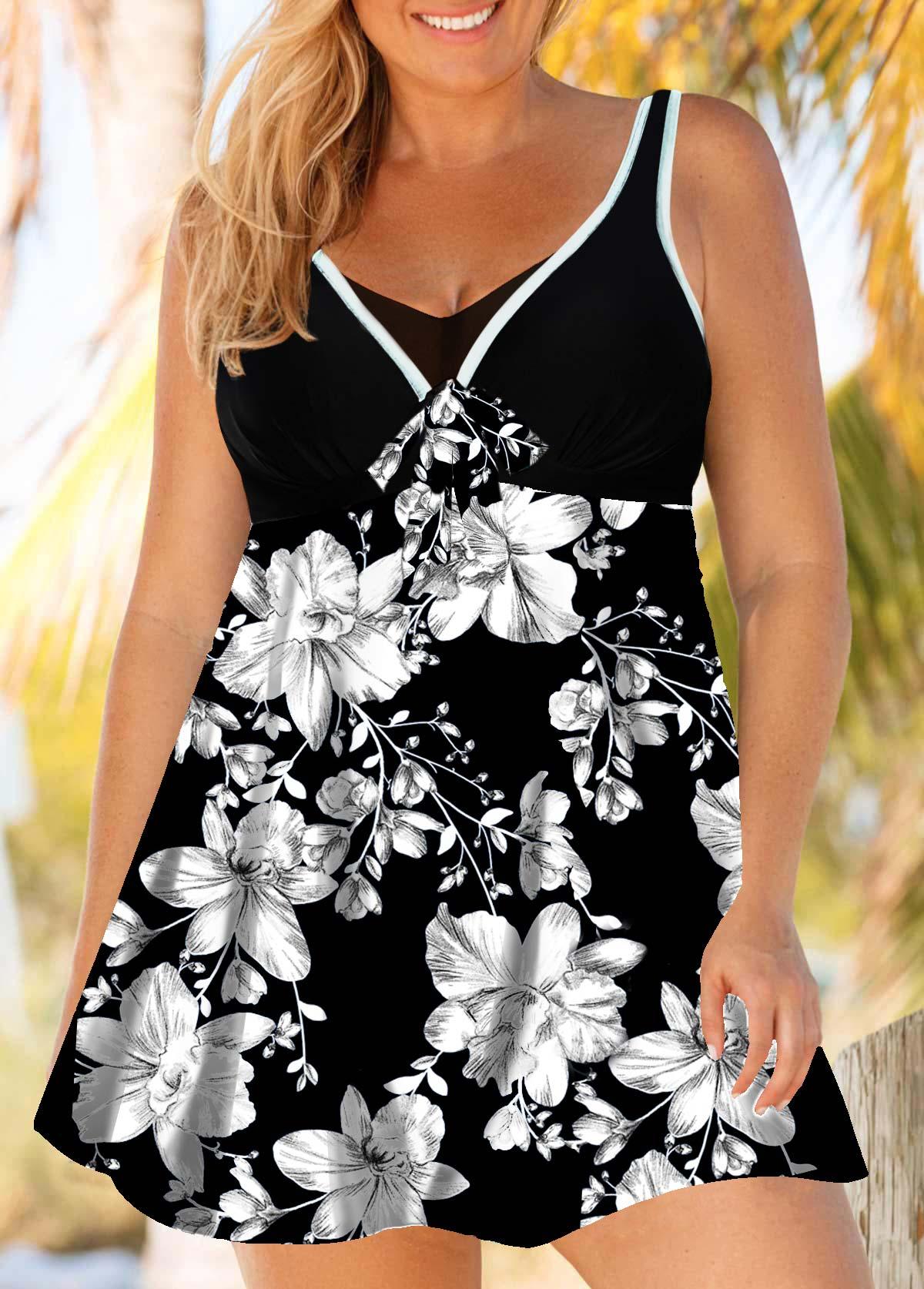 ROTITA Plus Size Floral Print Swimdress and Shorts