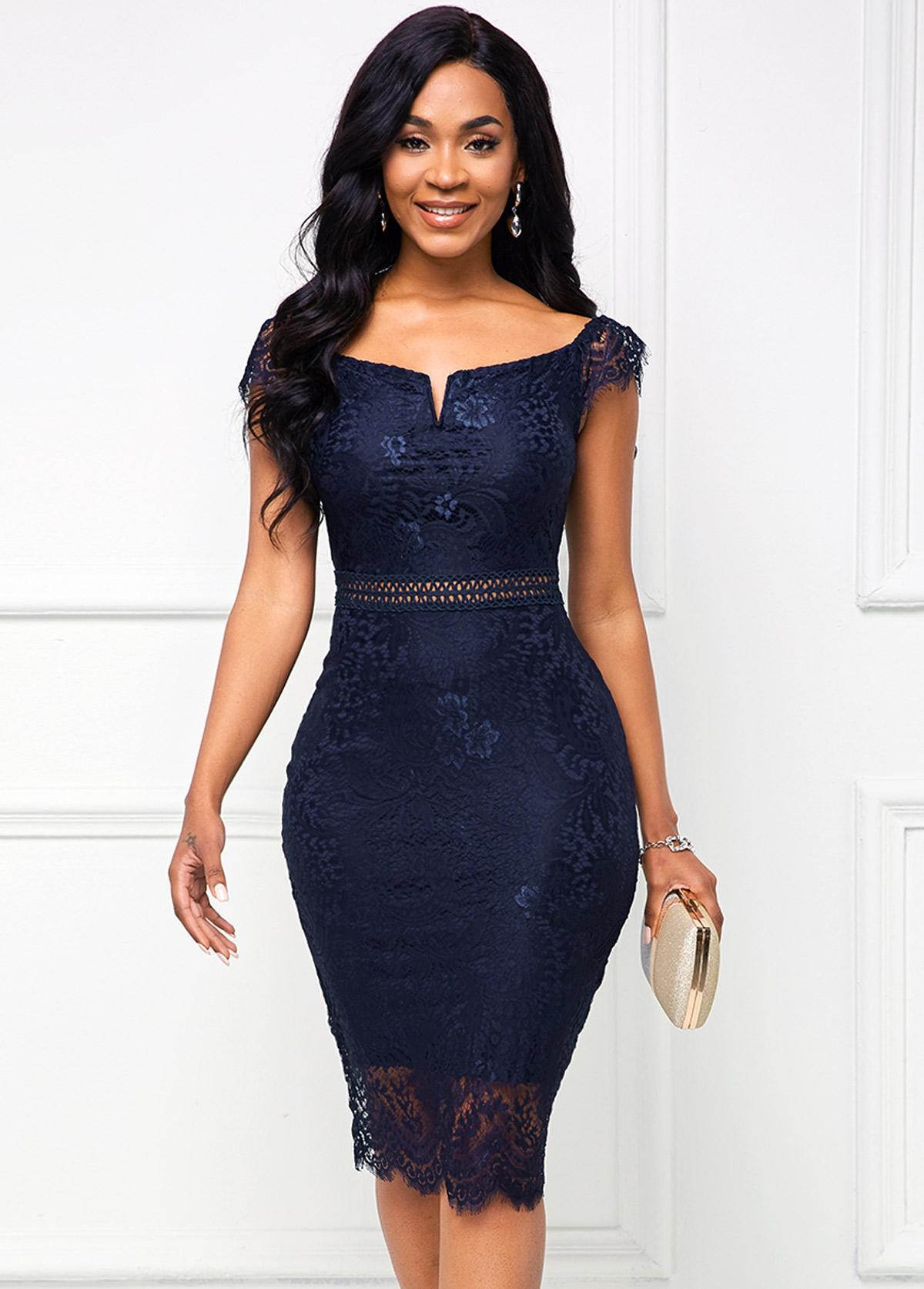 Lace Cap Sleeve Navy Blue Bodycon Dress