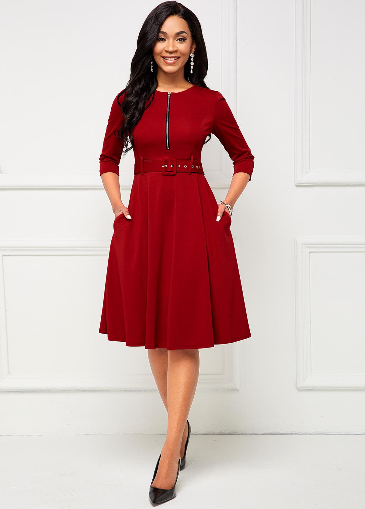Zip Front Buckle Belted Pocket Dress