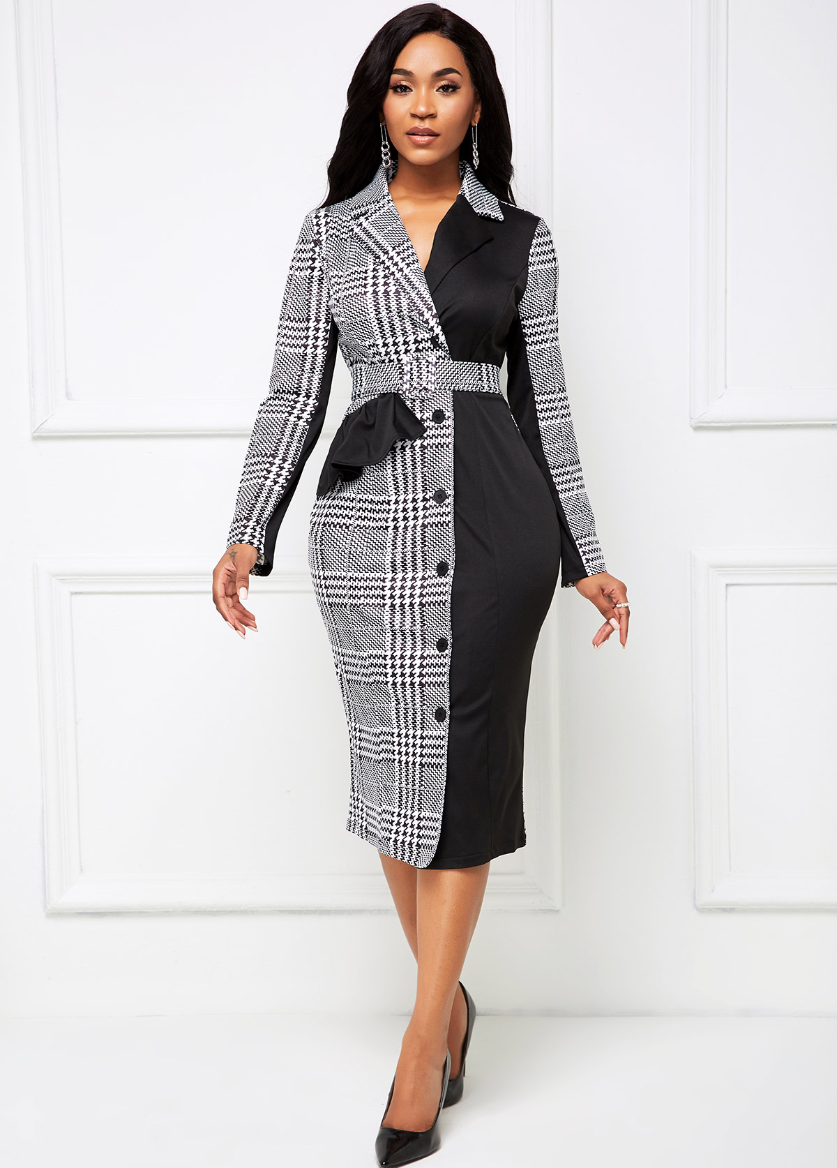 ROTITA Houndstooth Print Button Front Buckle Belted Dress